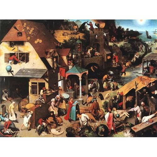 pinturas do retrato - Quadro -The Netherlandish Proverbs-