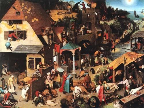 tableaux-de-personnages - Tableau -The Netherlandish Proverbs- - Bruegel