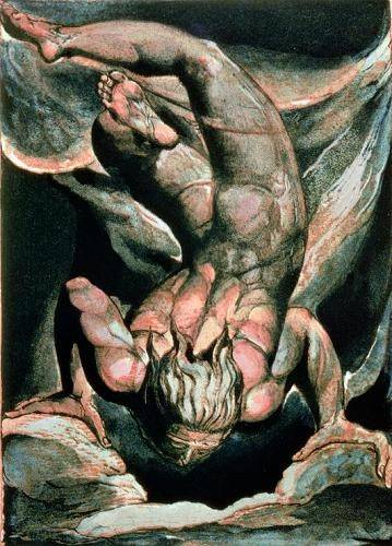 tableaux-de-personnages - Tableau -The First Book of Urizen, Man floating upside down- - Blake, William