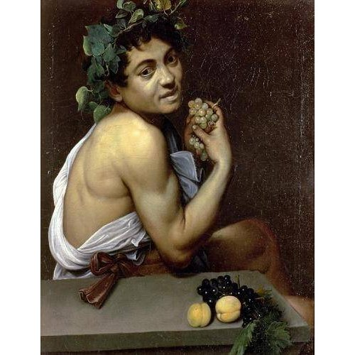pinturas do retrato - Quadro -The Sick Bacchus, 1591 (oil on canvas).-