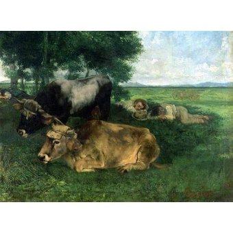 Tableaux de faune - Tableau -La Siesta Pendant la saison des foins, 1867- - Courbet, Gustave