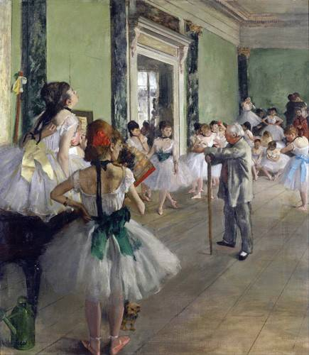 tableaux-de-personnages - Tableau -La classe de danse, c.1873-76 (oil on canvas).- - Degas, Edgar