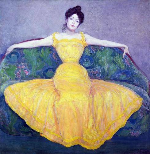 tableaux-de-personnages - Tableau -Lady in a Yellow Dress, 1899- - Kurzweil, Max