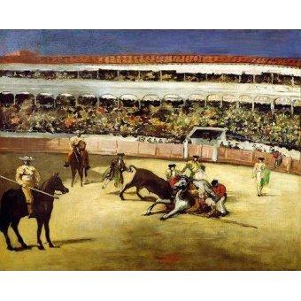 Tableaux de faune - Tableau -Combat de taureaux, 1865 - - Manet, Eduard