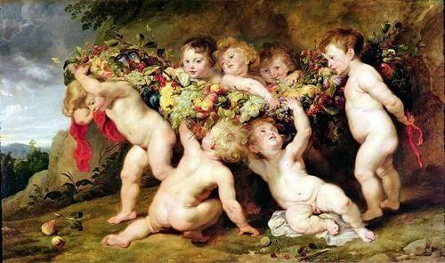 tableaux-de-personnages - Tableau -Garland of Fruit, c.1615-17- - Rubens, Peter Paulus