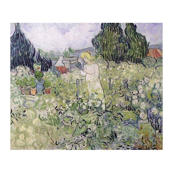pinturas do retrato - Quadro -Mademoiselle Gachet in her garden at Auvers-sur-Oise, 1890-
