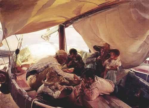 tableaux-de-personnages - Tableau -Déjeuner sur le bateau- - Sorolla, Joaquin