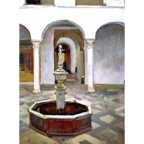 pinturas de paisagens - Quadro -Jardines del Alcazar de Sevilla-.