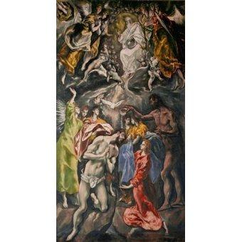Tableaux religieuses - Tableau -El Bautismo De Cristo- - Greco, El (D. Theotocopoulos)