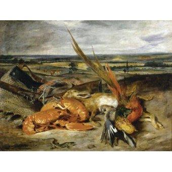 Tableaux nature morte - Tableau -Bodegón con langosta, 1827- - Delacroix, Eugene