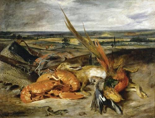 tableaux-nature-morte - Tableau -Nature morte au homard, 1827- - Delacroix, Eugene