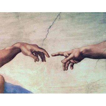 - Tableau -Mains de Dieu et Adam, détail de la création- - Buonarroti, Miguel Angel