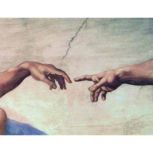 Tableau -Mains de Dieu et Adam, détail de la création-