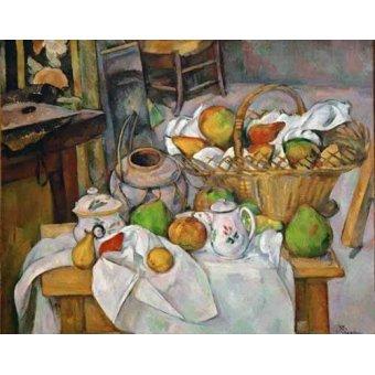 Tableaux nature morte - Tableau -Nature morte au panier, 1888-1890- - Cezanne, Paul