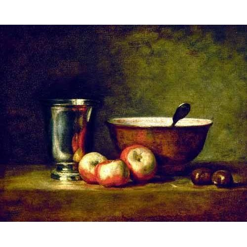 Tableau - Pommes, marrons, bol et gobelet -