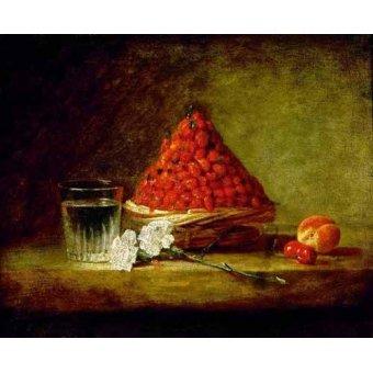 Tableaux nature morte - Tableau -Cesto con fresas salvajes- - Chardin, Jean Bapt. Simeon
