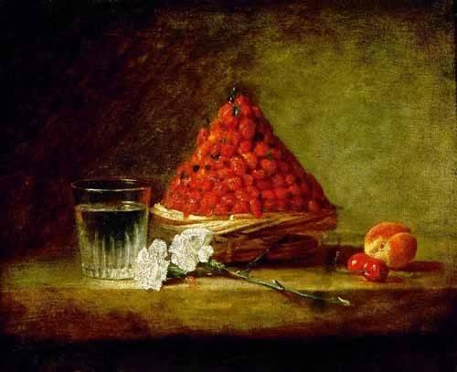 tableaux-nature-morte - Tableau -Cesto con fresas salvajes- - Chardin, Jean Bapt. Simeon