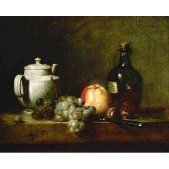 Tableaux nature morte - Tableau -Tetera blanca, uvas, castañas, cuchillo y botellas- - Chardin, Jean Bapt. Simeon