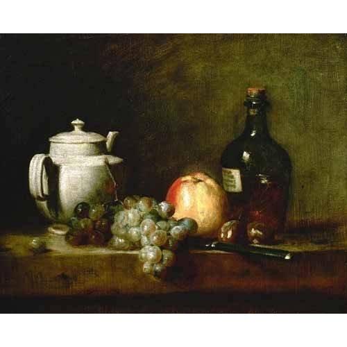 Tableau -Tetera blanca, uvas, castañas, cuchillo y botellas-