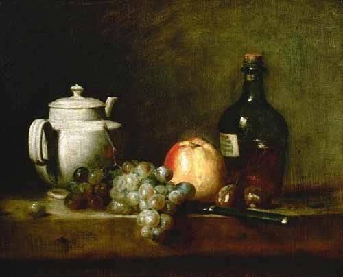 tableaux-nature-morte - Tableau -Tetera blanca, uvas, castañas, cuchillo y botellas- - Chardin, Jean Bapt. Simeon