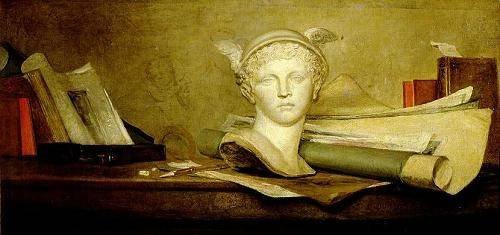tableaux-nature-morte - Tableau -Still Life with Attributes of the Arts- - Chardin, Jean Bapt. Simeon