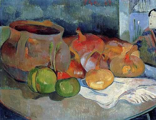 tableaux-nature-morte - Tableau -Bodegón con cebollas y remolacha- - Gauguin, Paul