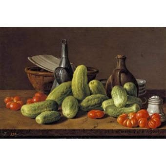 Tableaux nature morte - Tableau -Pepinos y tomates- - Melendez, Luis