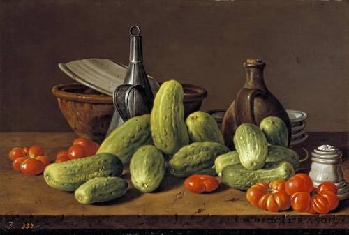 tableaux-nature-morte - Tableau -Pepinos y tomates- - Melendez, Luis