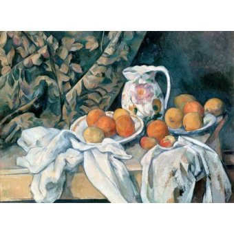 Tableaux nature morte - Tableau -Nature morte au rideau- - Cezanne, Paul