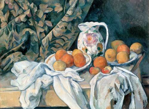 tableaux-nature-morte - Tableau -Nature morte au rideau- - Cezanne, Paul