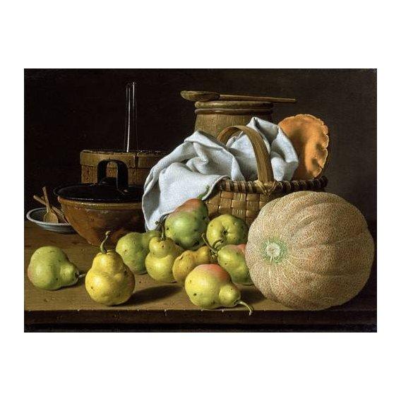 naturezas mortas - Quadro -Bodegón con melón y peras-