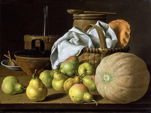 tableaux-nature-morte - Tableau -Bodegón con melón y peras- - Melendez, Luis