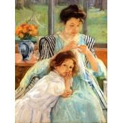 Tableau -1900 vers Young mother Sewing-