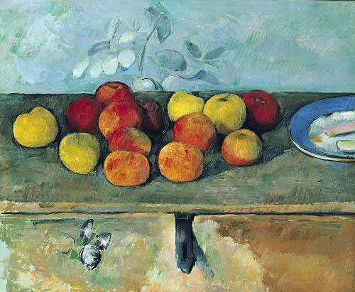 tableaux-nature-morte - Tableau -Bodegón con manzanas y galletas(1880-82)- - Cezanne, Paul