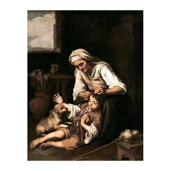 pinturas do retrato - Quadro -Vieja espulgando a un niño-