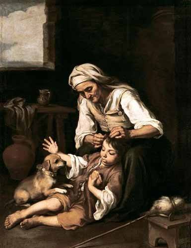 tableaux-de-personnages - Tableau -Vieja espulgando a un niño- - Murillo, Bartolome Esteban