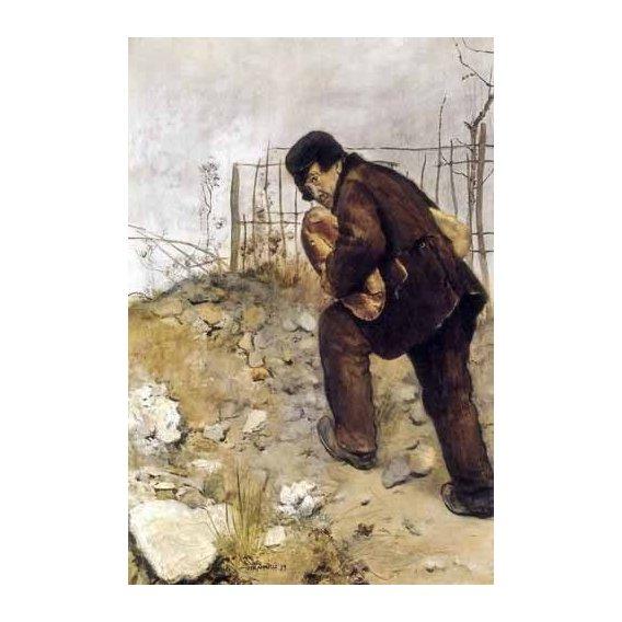 pinturas do retrato - Quadro -L'homme aux deux pains-
