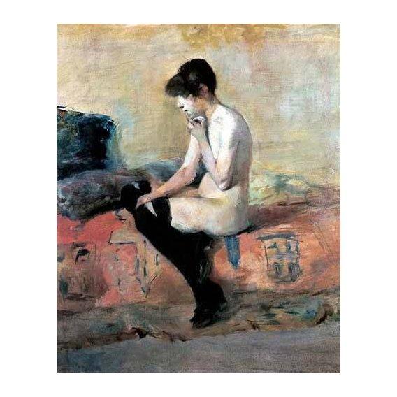 pinturas do retrato - Quadro -Mujer desnuda en un divan-