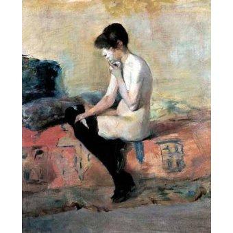 Tableaux de Nus - Tableau -Mujer desnuda en un divan- - Toulouse-Lautrec, Henri de