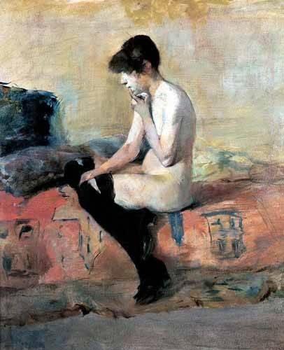 tableaux-de-personnages - Tableau -Mujer desnuda en un divan- - Toulouse-Lautrec, Henri de