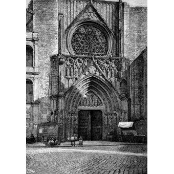 Tableaux cartes du monde, dessins - Tableau -Catedral de Valencia, vista de la puerta de los Apóstoles- - _Anónimo Español