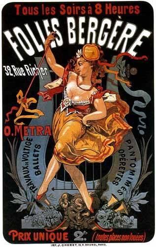 tableaux-cartes-du-monde-dessins - Tableau -Cartel: Espectaculos en Folies Bergere, 32 rue Richer- - _Anónimo Frances
