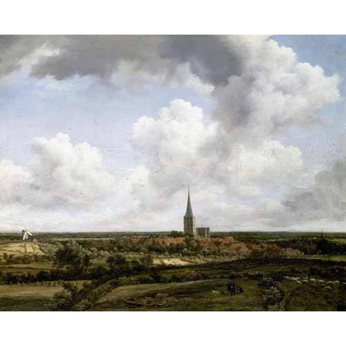 pinturas de paisagens - Quadro -Paisaje llano con aldea e iglesia-