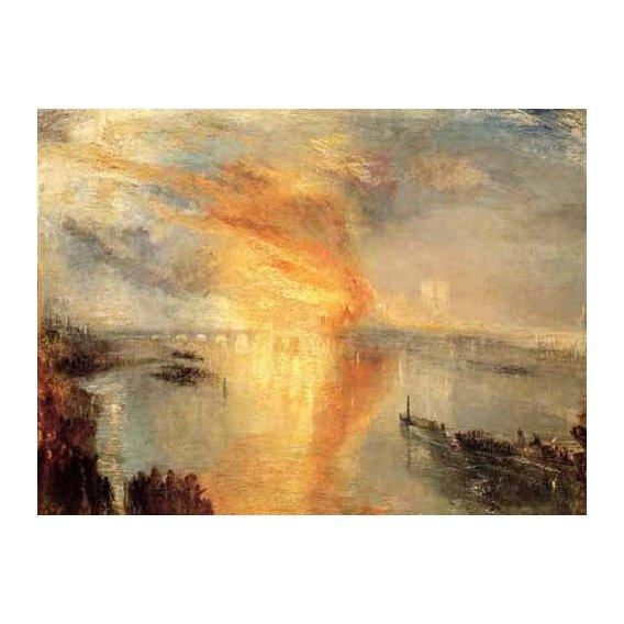 pinturas de paisagens - Quadro -The burning of the house of L-