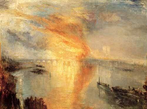 tableaux-de-paysages - Tableau -The burning of the house of L- - Turner, Joseph M. William