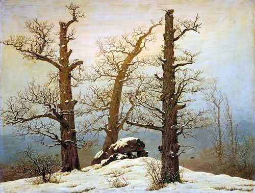 tableaux-de-paysages - Tableau -Megalithic Caim In The Snow- - Friedrich, Caspar David