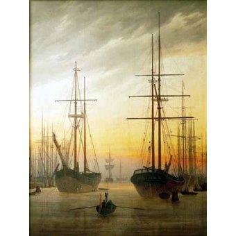Tableaux de paysages marins - Tableau -Ships in The Harbour- - Friedrich, Caspar David