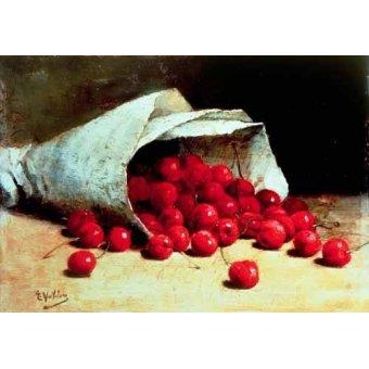 Tableaux nature morte - Tableau -Bolsa de papel con cerezas- - Vollon, Antoine