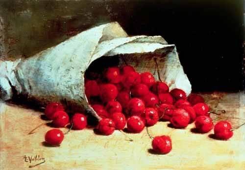 tableaux-nature-morte - Tableau -Bolsa de papel con cerezas- - Vollon, Antoine