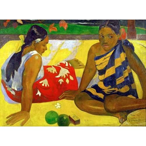 Tableau -Two women from Tahiti (Oil on canvas) (1892)-